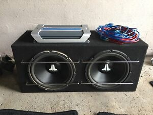 """2 12"""" JL Subs and infinity amp"""