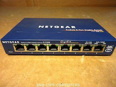 NETGEAR GS108 ProSafe Gigabit Frame 10/100/1000Mbps Netzwerk Switch EXCL PSU