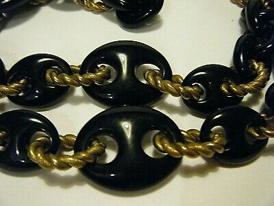 "40"" Large Gucci Links Vintage 1970s Necklace Black Plastic Gold Plate"