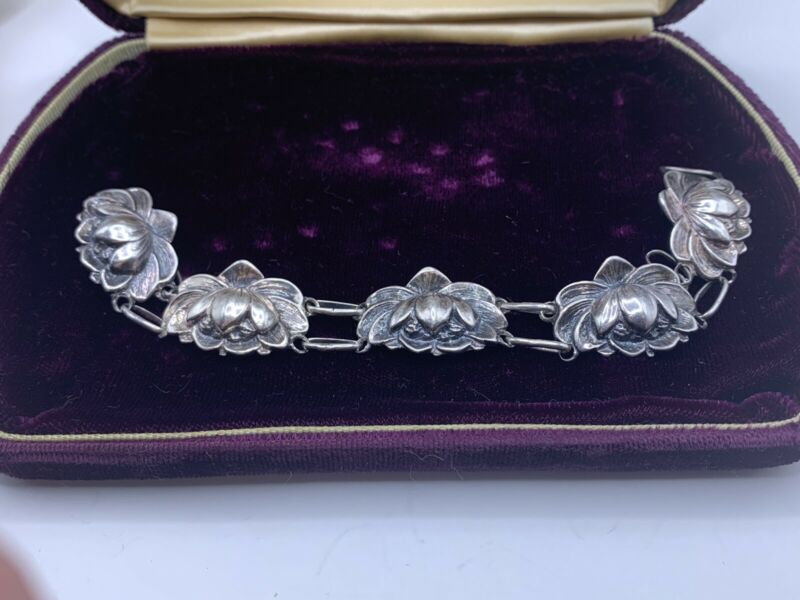 Rare Vintage Danecraft Sterling Silver Lotus Water Lilly Flower Bracelet