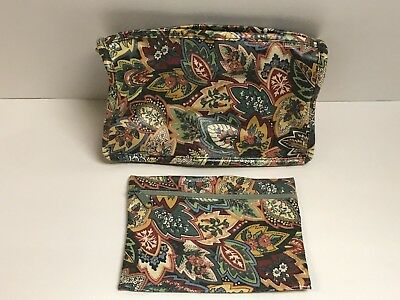 - Cosmetic Bag & Zipper Pouch Set Floral Paisley Design