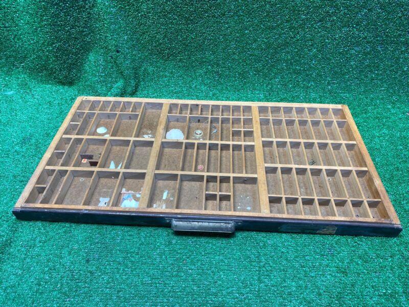 Vintage  Castcraft Type Set Letterpress Drawer Metal Handle-Shawdowbox-Curio