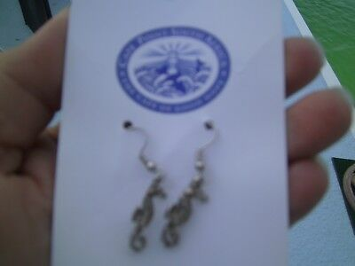 Cape Point South Africa 925 Ss French Wire Earrings Sea Horse Pewter Charm Gift
