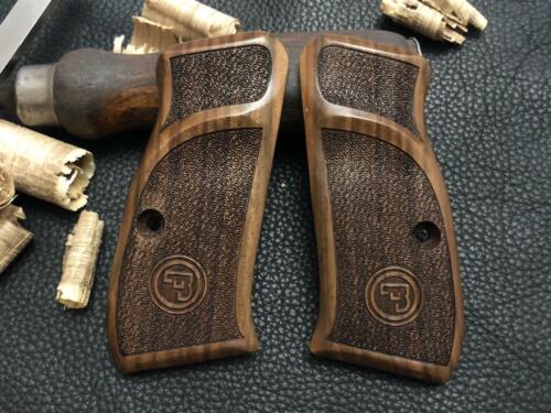 CZ 75 Compact, CZ P-01, CZ 75 D Compact Walnut Wood Grips Gritty Texture. A Plus