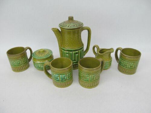 Vintage Royal Sealy Tea Set Green w/ Greek Key Pattern Teapot Cups Sugar Creamer