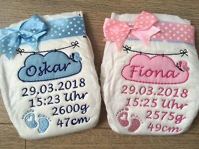 Bestickte Windel Geburtsdaten Baby Taufe Geschenk mit Wolke