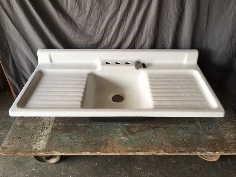 Vtg Cast Iron Porcelain Double Drainboard Single Basin Kitchen Sink 599-17E