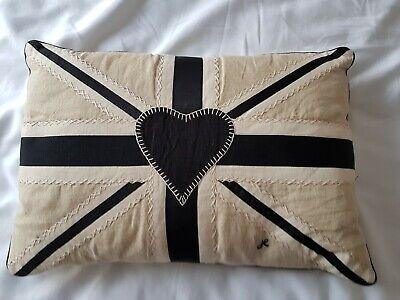 Used Jan Constantine ecru linen and black gros grain union jack cushion