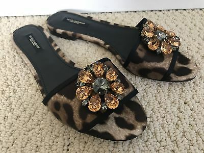 New Auth Dolce & Gabbana Leopard Crystal Medallion Slide Flat Sandals  6 $795