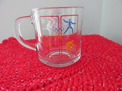 Vintage McDonald's 1984 Olympics Los Angeles LA Glass Cup Coffee Mug Rare
