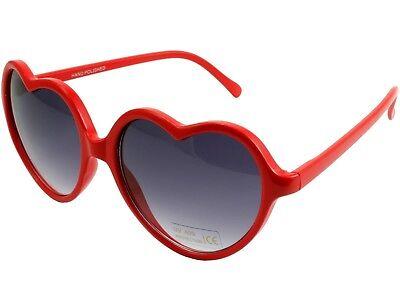 Vintage Retro Fashion Womens Heart Shaped Sunglasses Plastic Frame Red (Red Plastic Sunglasses)