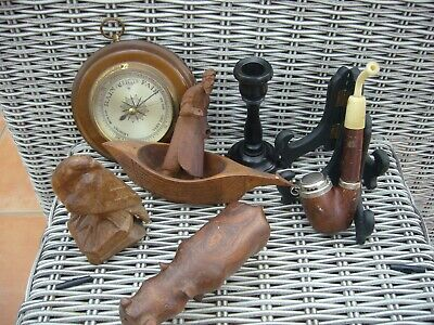 Antique vintage wooden items boat barometer pipe stands candlestick