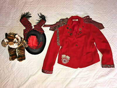 CIRCUS ringmaster HAT  jacket COSTUME size 12 P cosplay fantasy Steampunk red - Ringmaster Costume Jacket