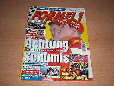 Rennsport News Formel 1  Start 2002 Heft 02/2002 mit Ticket und Travel Beilage