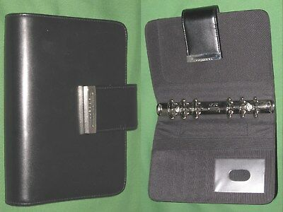 Compact 1.0 Black Leather Rosetti Planner Binder Franklin Covey Open 9478