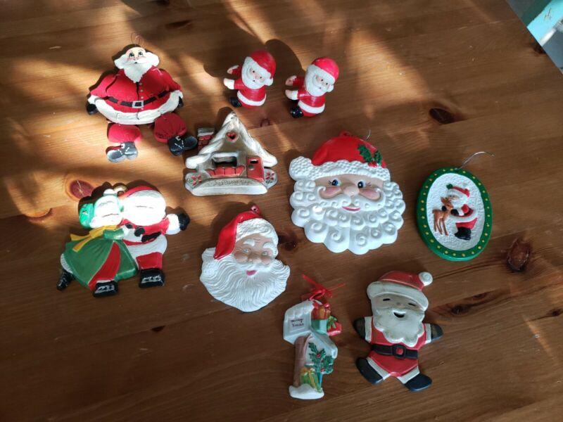 Vintage Hand Painted Ceramic Christmas Ornaments Santa