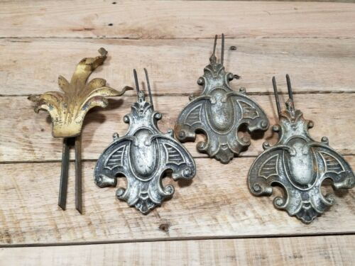 X4 Vintage Cast Iron Curtain Rod End Finials - Victorian, Architectural