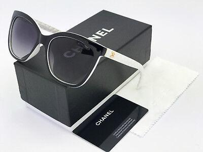 Sunglasses-Polarized@¹Chanel@¹Oversized-Black White Gold-Logo Grey Lenses