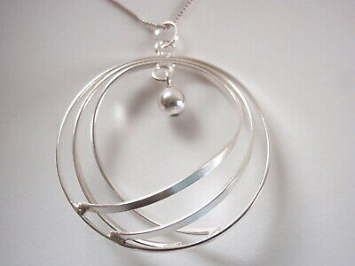Raised Tripe Circle Pendant 925 Sterling Silver