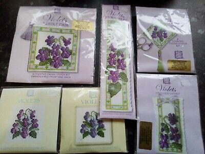 Heritage Violets Cross Stitch Kits - 6 Kits