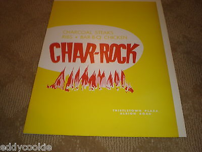 Char-rock (Vintage 1962 CHAR-ROCK BANQUET ROOM MENU THISTLETOWN PLAZA ALBION ROAD  CANADA  )