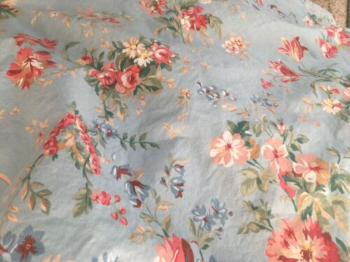 Ralph Lauren Yvette Blue Floral French Country Cotton Queen Fitted Sheet