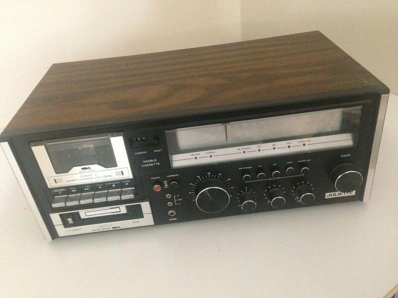 Juliette C-981 Double Cassette/AM FM Radio/Home Stereo Unit VINTAGE phono/aux in