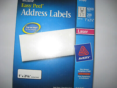 Avery 5160 Easy Peel White Address Labels Laser Printers 6000 Labels 1 X 2 58