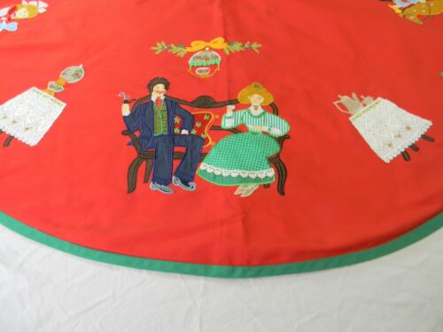 Victorian Couple Christmas Tree Skirt Red Embroidered Vintage Applique Hatten
