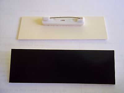 40 Black With White Core Blank Name Badges Tags 1x3 With Pins.