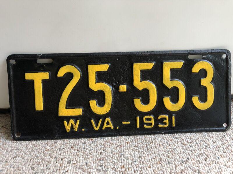 Vintage 1931 West Virginia License Plate (Repainted)