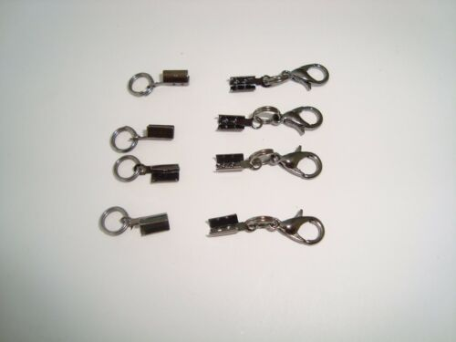 Ready made end crimp & lobster clasp fastens 2mm cord or chain 4 sets gun metal