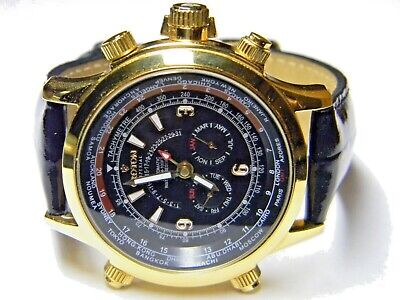 mens Croton imperial AUTOMATIC WORLD TIME TRIPLE CALENDAR day date month -