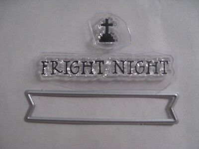 Halloween Tombstone Sayings (2 NEW CLEAR STAMPS ~ TOMBSTONE ~ SAYING & FRAMELIT WORD BANNER DIE ~)