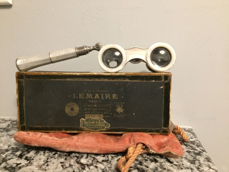 Vintage Mother Of Pearl Lemaire Paris Opera Glasses Binoculars Telescoping W/box
