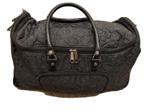 Thirty One Black Quilted Poppy Rolling Wheeled Duffle Weekender Carryon  - $79.95