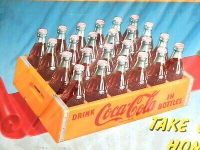 """VINTAGE 1952 Litho Coca-Cola Advertising Sign 36X20"""" Cardboard Poster~VERY NICE~"""