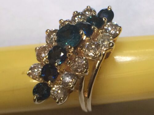 Lady 14kt yellow gold diamond cocktail ring with genuine Blue Sapphire BRAND NEW