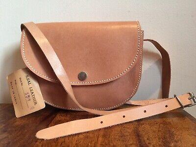 Womans Vintage Retro Genuine Beige/Tan Leather Purse Style Festival Satchel Bag