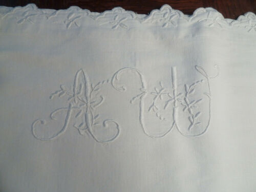 french linen sheets embroided monogram AW antique handmade
