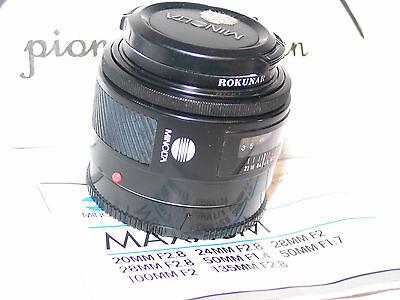 KONICA MINOLTA MAXXUM 50mm f/1.7 LENS for SONY A35 A37 A55 A57 A58 Alpha 1.8