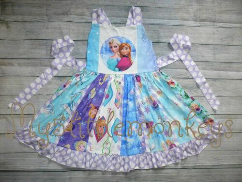 NEW Boutique Frozen Princess Ana Elsa Girls Sleeveless Ruffle Twirl Dress