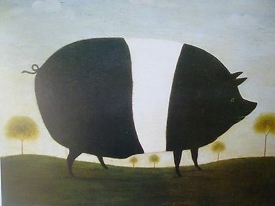 Antiquarian Style Print of a rare Wessex Saddleback Black & White Pig