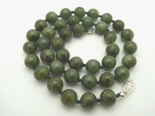 """Vintage Knotted Green Jade 925 Sterling 10mm Round Jadeite Bead 19.5"""" Necklace"""
