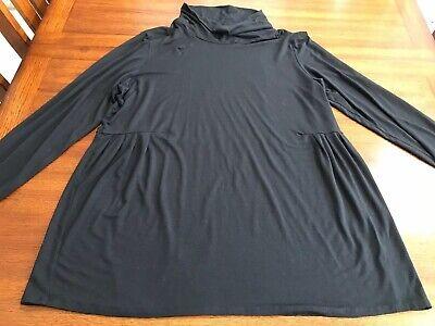 J Jill Wearever Collection Mock Neck Tunic Top Turtle Neck Pleated Black Sz XL Mock Neck Tunic Top