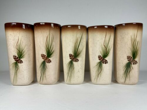 VTG MCM 5 Romco Rocky Mountain Pottery Pine Cone Brown Speckle Tumblers 6""