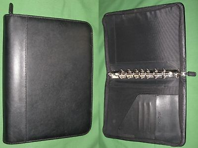 Desk 1.0 Black Faux Leather Day Timer Planner Binder Classic Franklin Covey
