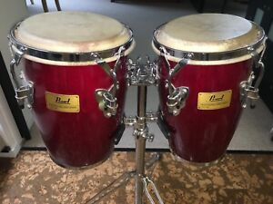 Pearl conga drums with stand