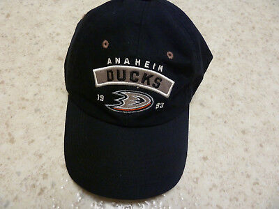Anaheim DUCKS 1993 Old Time Hockey Baseball Cap Hat Black with Logo - Old Time Baseball Hats