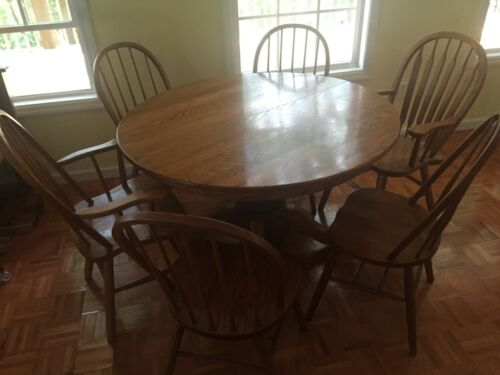 Antique Oak Table and 6 Chairs